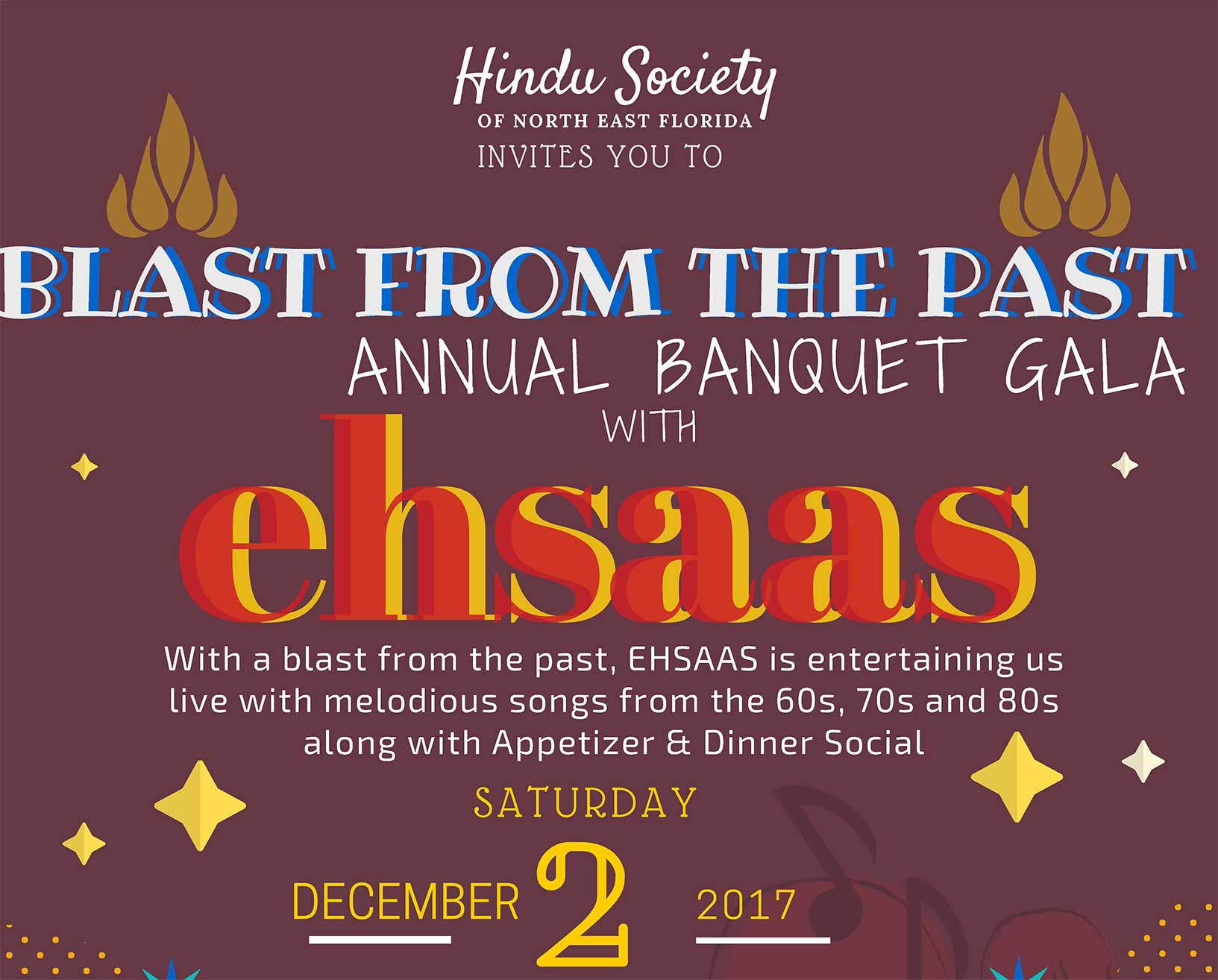 ANNUAL BANQUET GALA 2017 HSNEF SAt Dec 3 - Buy Tickets Online here. For a Blast from the Past! Saturday December 2 2017